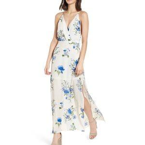 Lush Surpluce Maxi Dress Blue Floral Pattern NEW